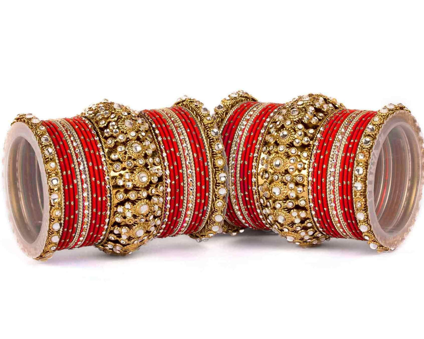 Beautiful golden dotted red color bangle set by Leshya