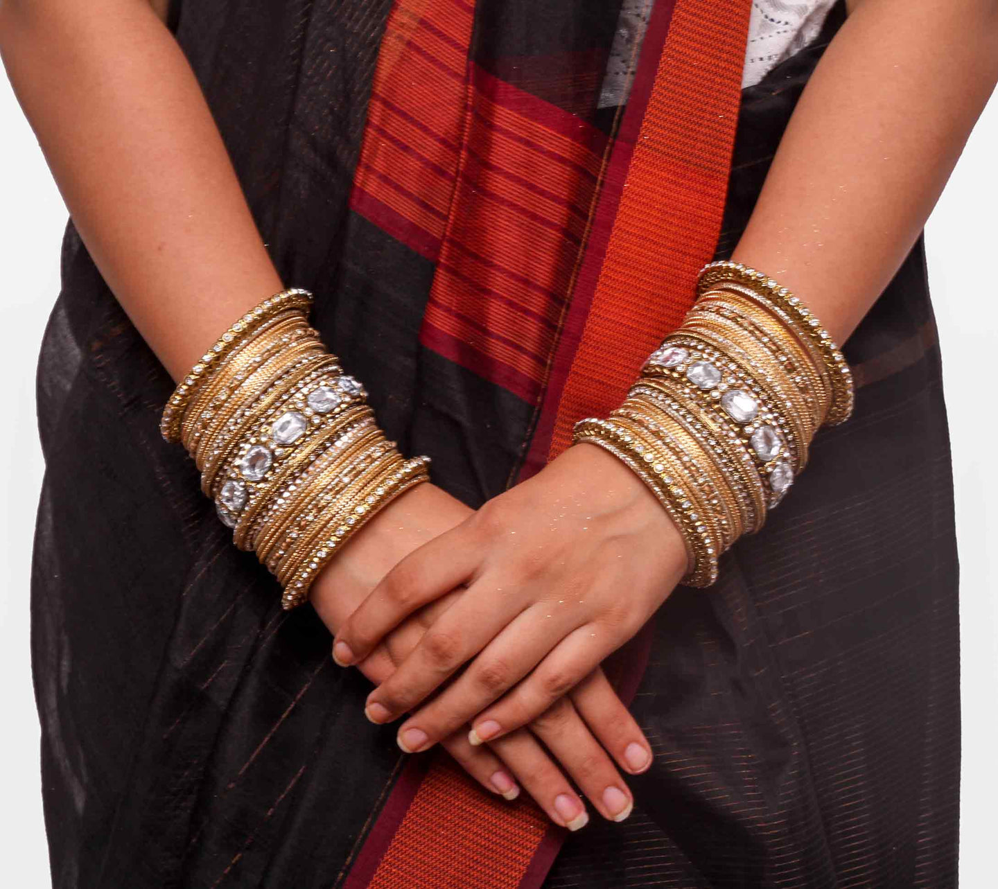 Beautiful Golden bangle set for two hands with big kundan stone ...