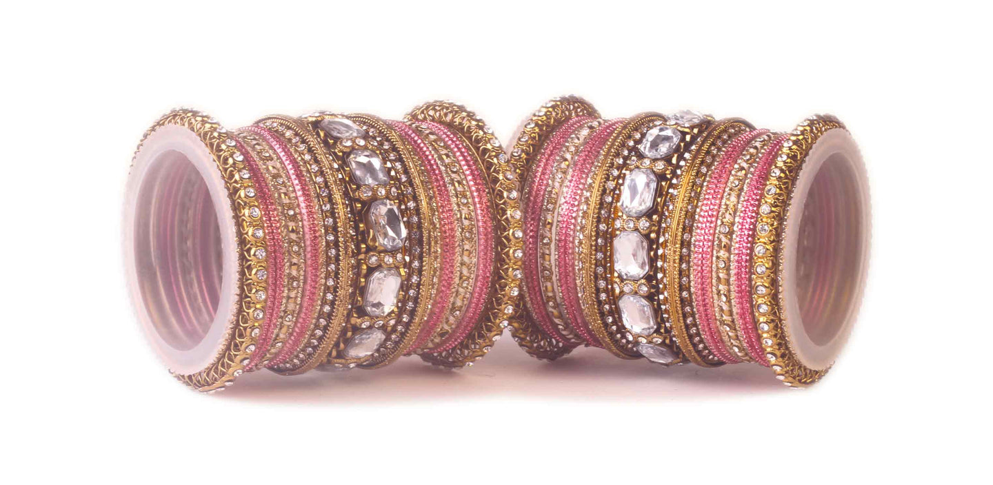 Beautiful Pink bangle set for two hands with big kundan stone ...