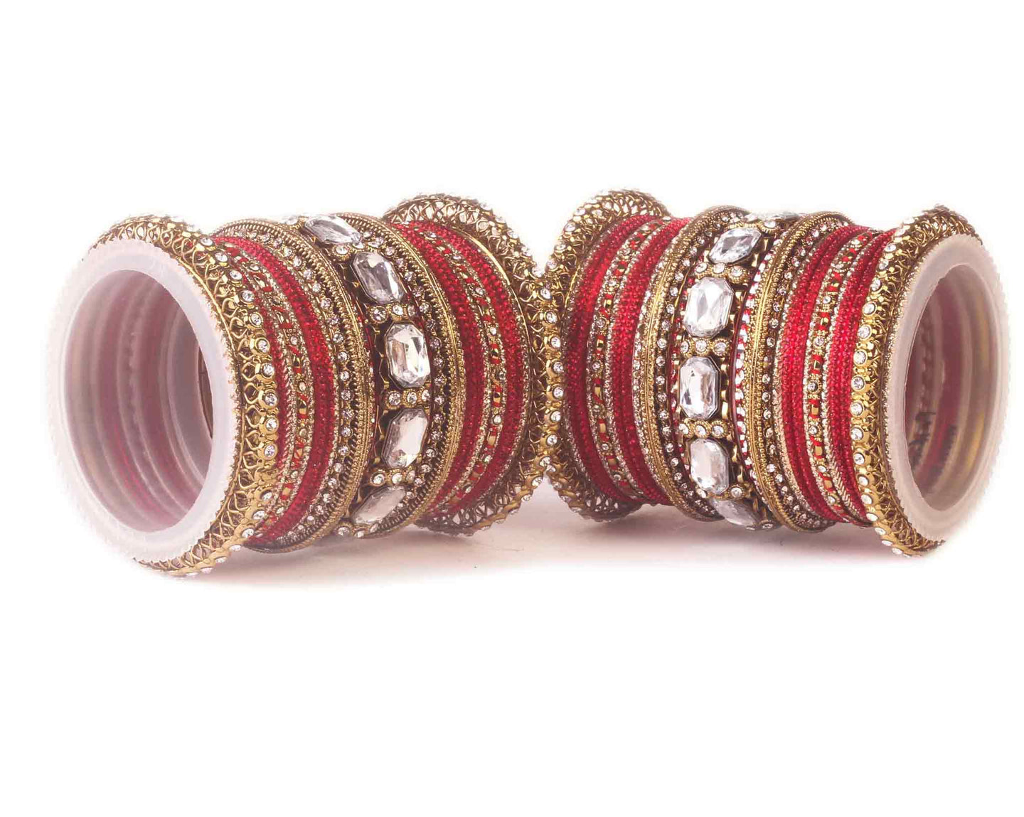 Beautiful Red bangle set for two hands with big kundan stone ...