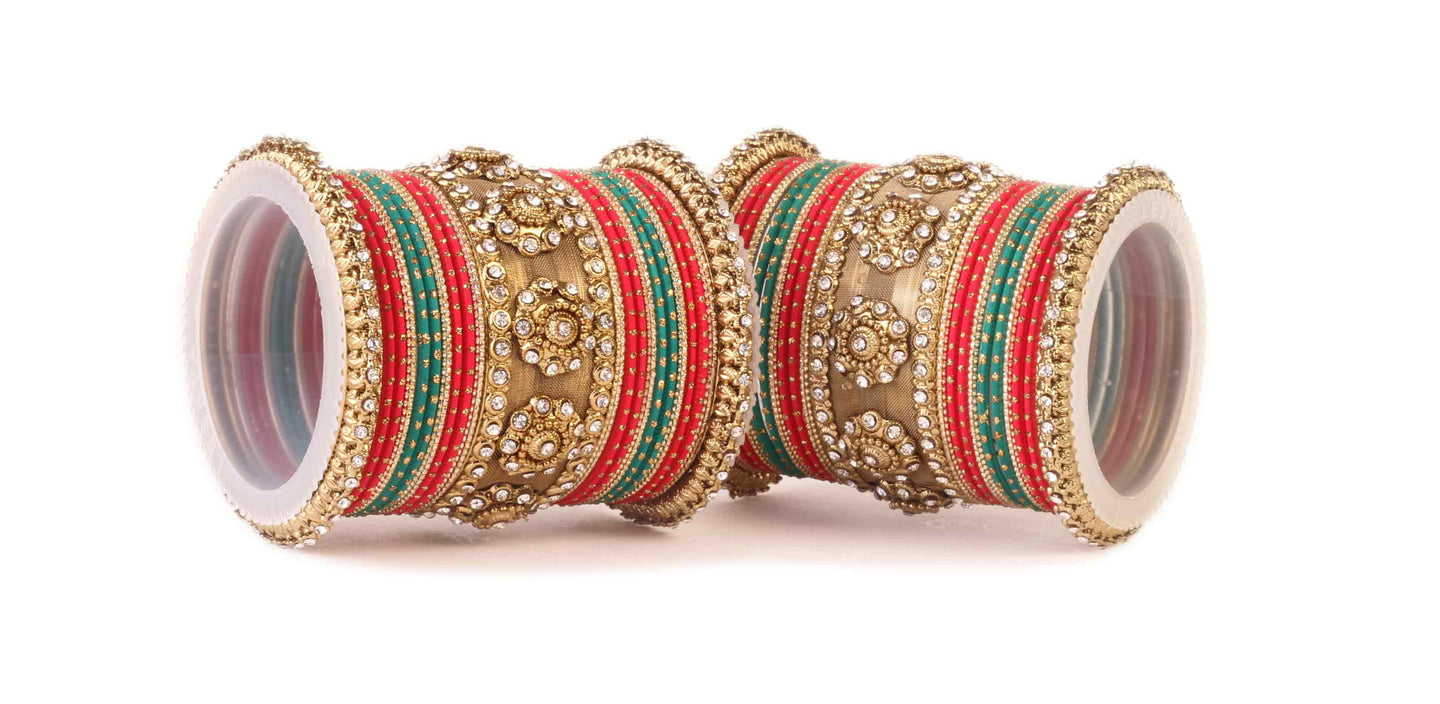 Traditional Jaaliwork Red Green bangle set by Leshya