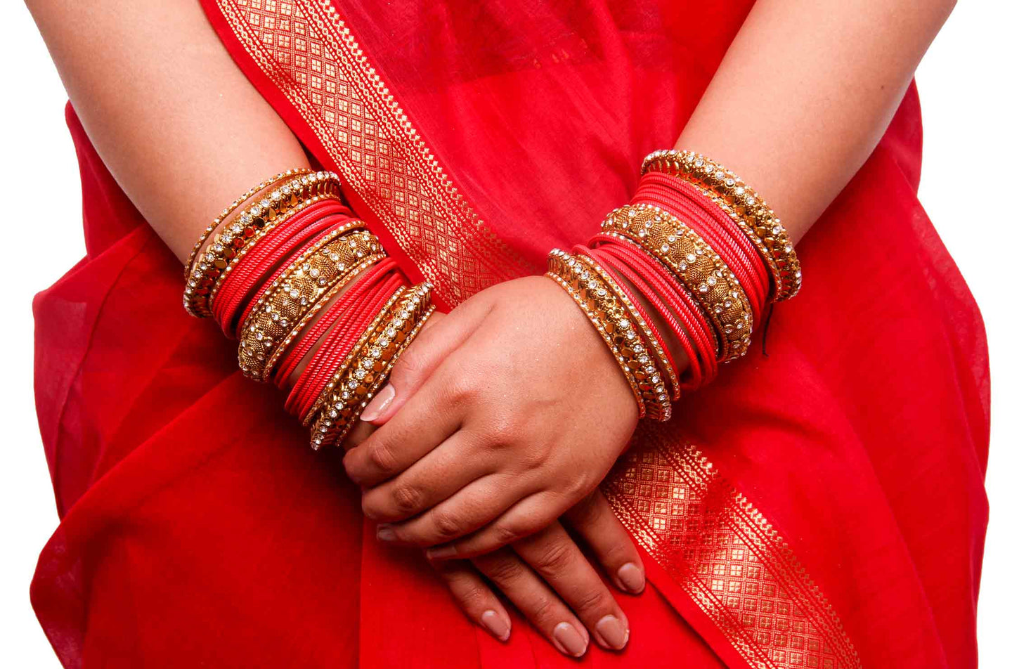 Traditional solid coloured Bangle Set for Both Hands by Leshya Red ...