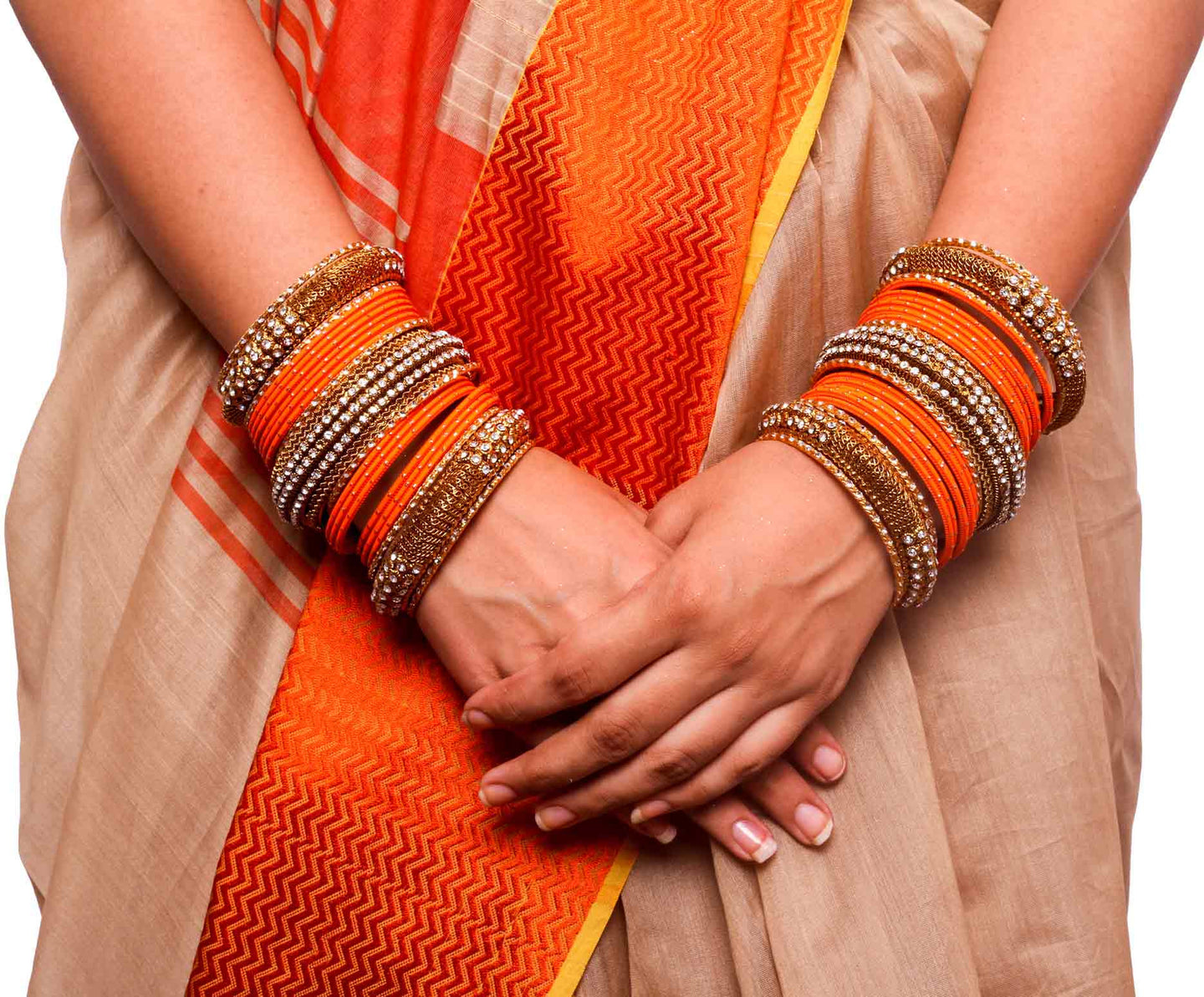 Bridal Jaaliwork Bangle Set By Leshya For Two Hands Orange ...