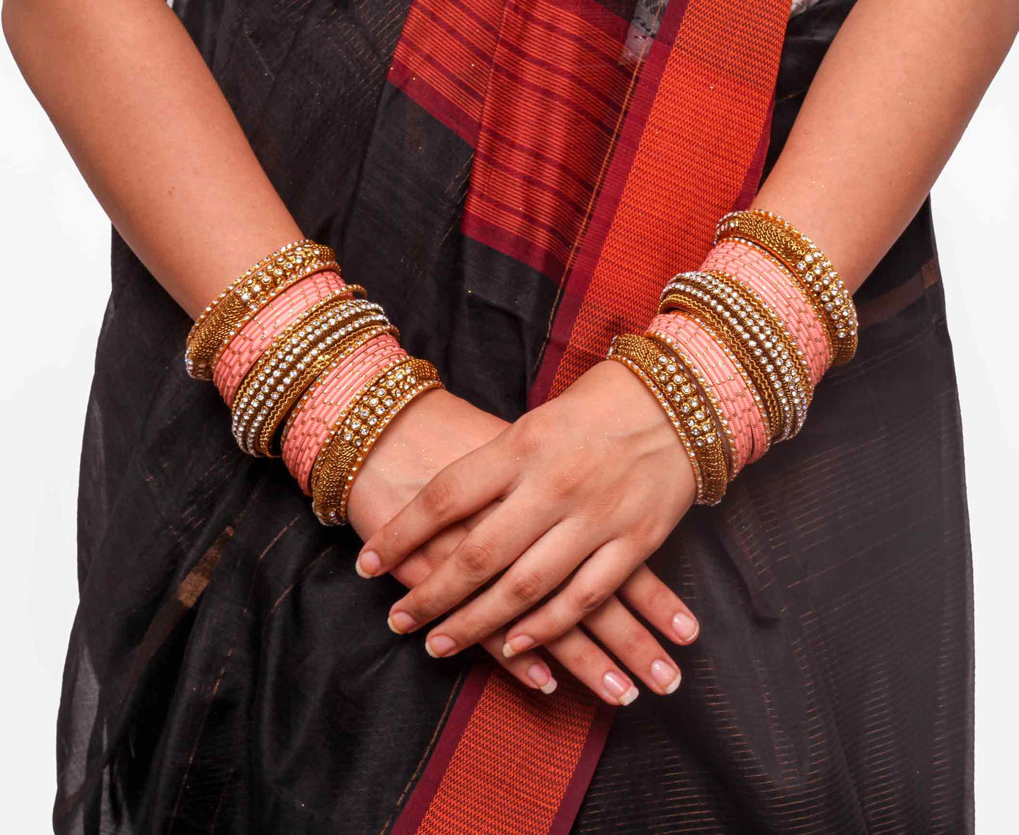 Bridal Jaaliwork Bangle Set By Leshya For Two Hands Peach ...