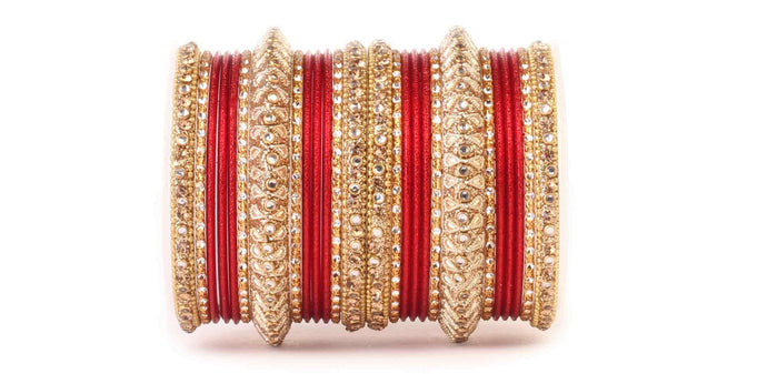 Traditional Red kundan Work Bangle Set  for both hands by Leshya