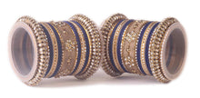 Traditional Kundan Bangle Set For Two Hands in Matte Finish Blue