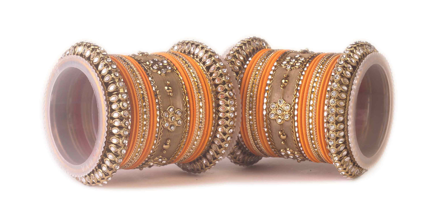 Traditional Kundan Bangle Set For Two Hands in Matte Finish Orange