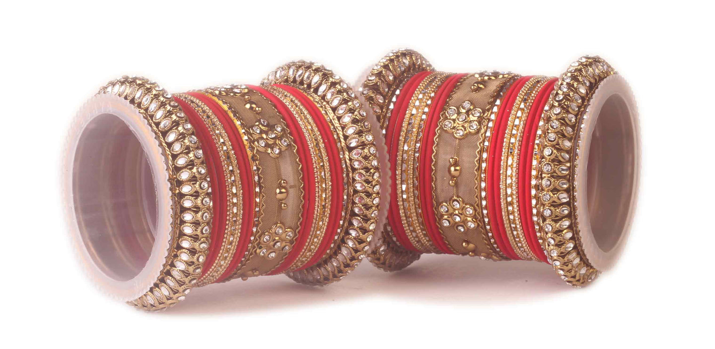 Traditional Kundan Bangle Set For Two Hands in Matte Finish Red ...