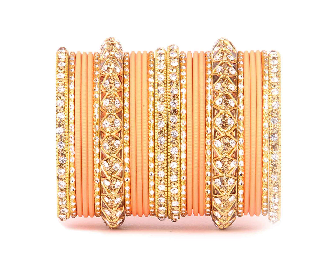 Antique Lac Bracelet with matte finish bangle set by Leshya for women Peach