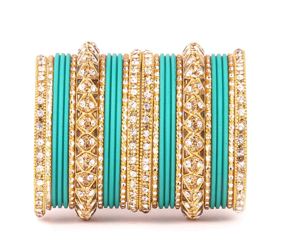 Antique Lac Bracelet with matte finish bangle set by Leshya for women Green