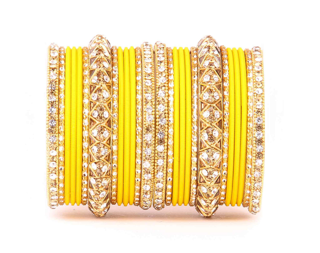 Antique Lac Bracelet with matte finish bangle set by Leshya for women Yellow