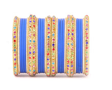 Golden Kada with Multi Colored stones and Matte Finish Bangle Set for Women by Leshya Blue