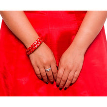 Beautiful Flower pattern meenakari Bracelet by Leshya Red (2pcs)