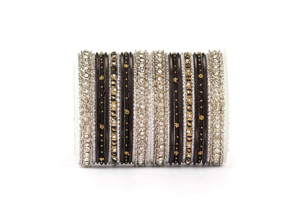 ELEGANT BLACK-SILVER COLORED THREAD BANGLE SET