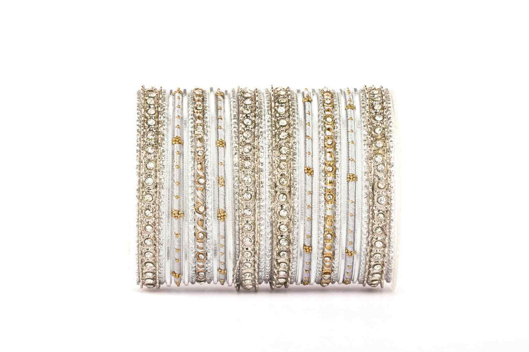 ELEGANT ALL SILVER COLORED THREAD BANGLE SET