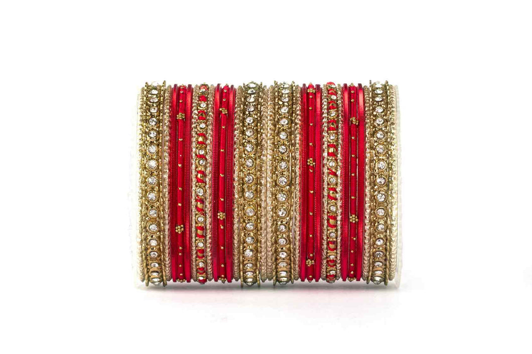 ELEGANT RED COLORED THREAD BANGLE SET