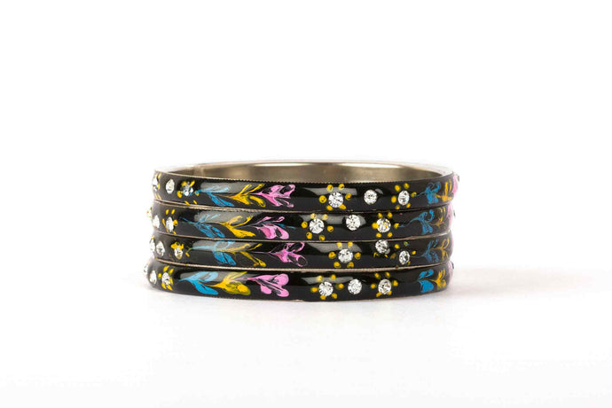 MEENAKARI BRACELETS WITH HAND MADE FLORAL DESIGN AND STONES BLACK