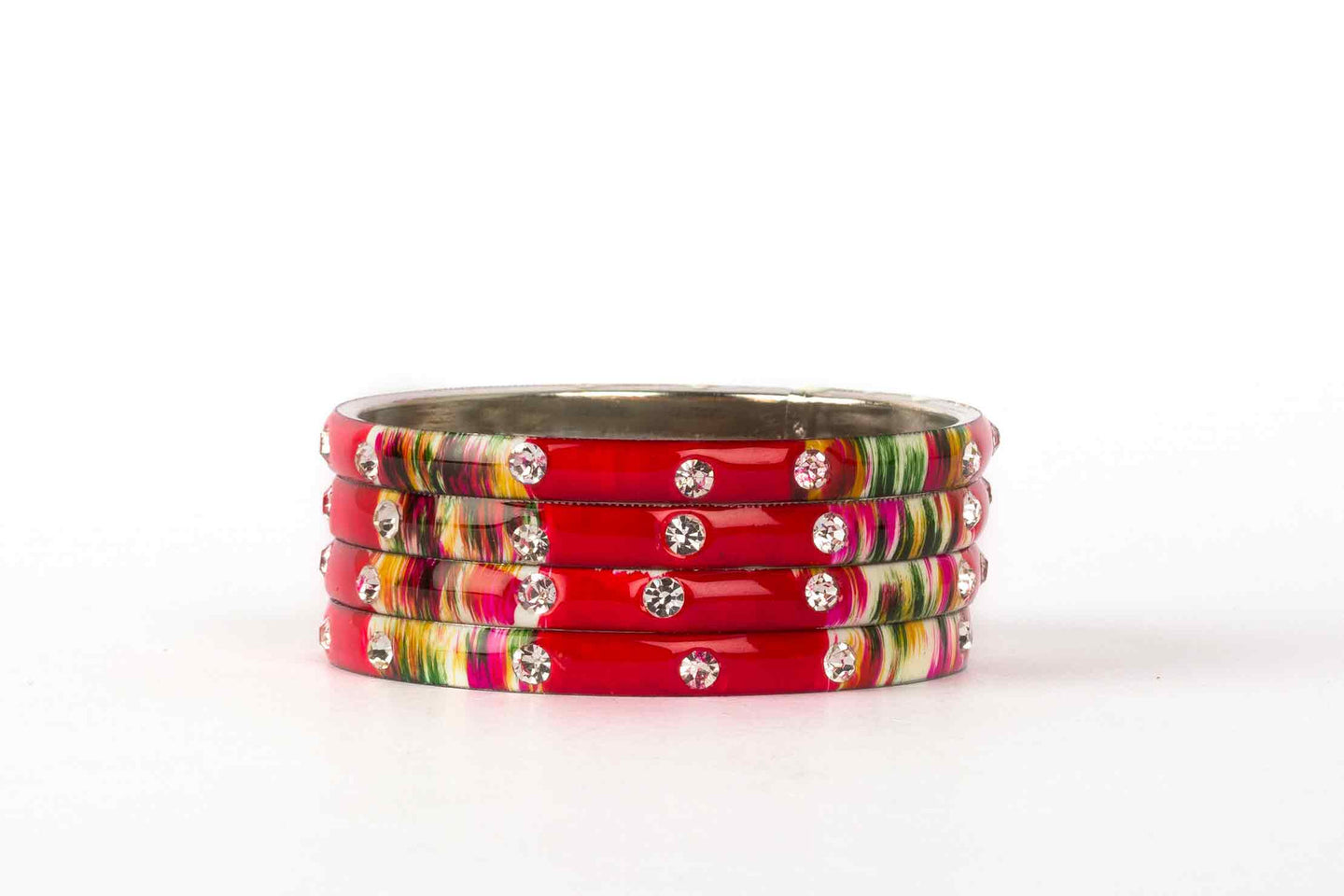 RED MEENAKARI BRACELETS WITH HAND PAINTED PRINT DESIGN AND RUNNING STONES