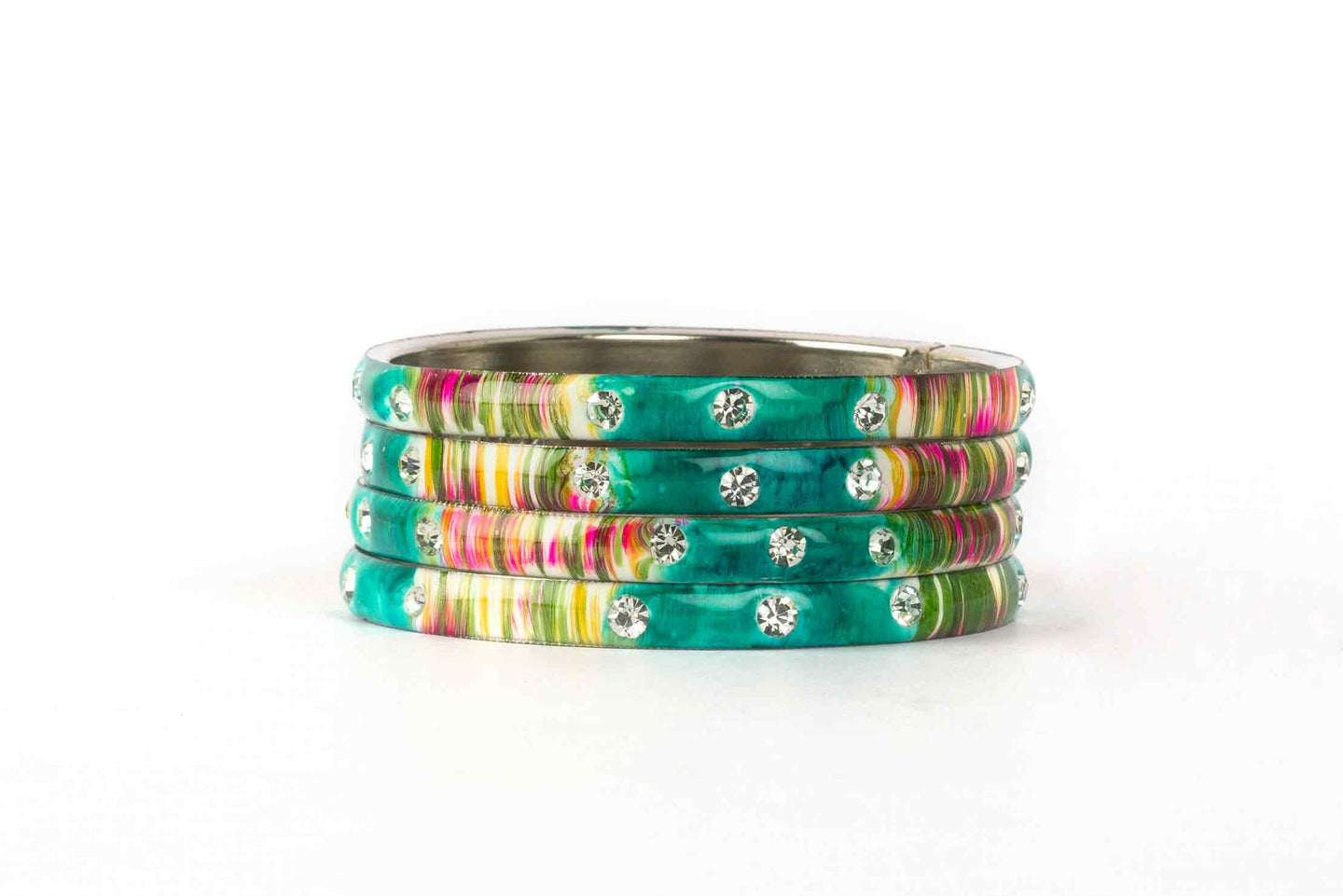 TURQUOISE MEENAKARI BRACELETS WITH HAND PAINTED PRINT DESIGN AND RUNNING STONES
