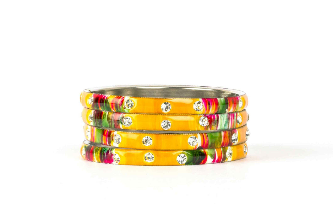 YELLOW MEENAKARI BRACELETS WITH HAND PAINTED PRINT DESIGN AND RUNNING STONES