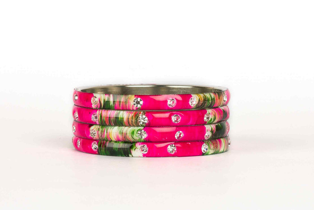 MEENAKARI BRACELETS WITH HAND PAINTED PRINT DESIGN AND RUNNING STONES