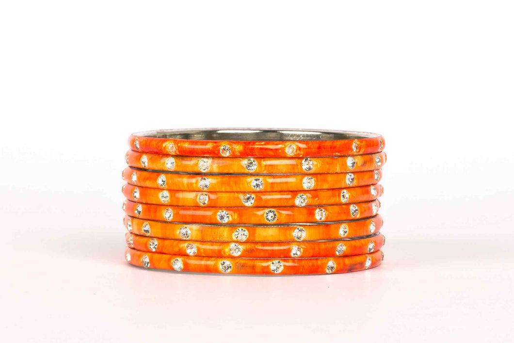 PLAIN MEENAKARI BRACELETS WITH PATTERNED STONES ORANGE