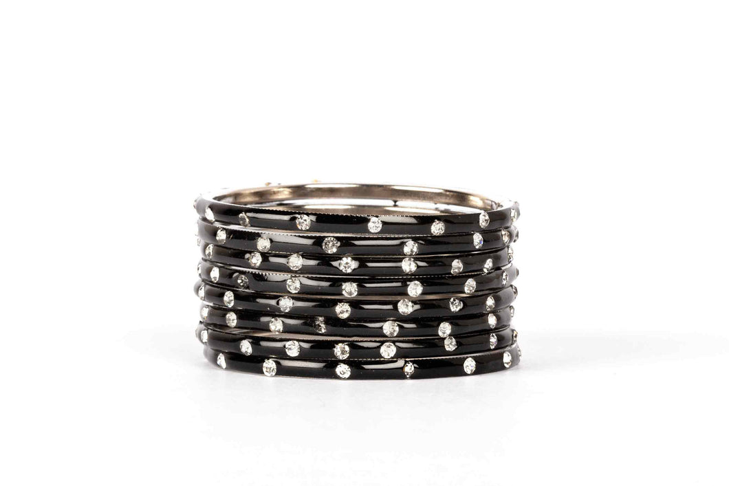 PLAIN MEENAKARI BRACELETS WITH PATTERNED STONES BLACK