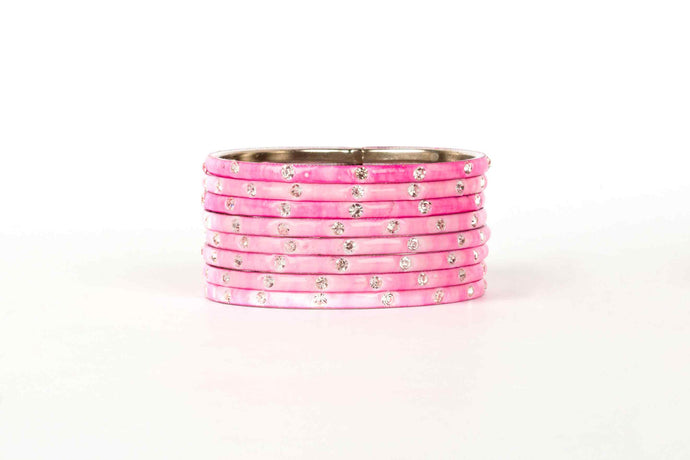 PLAIN MEENAKARI BRACELETS WITH PATTERNED STONES PINK