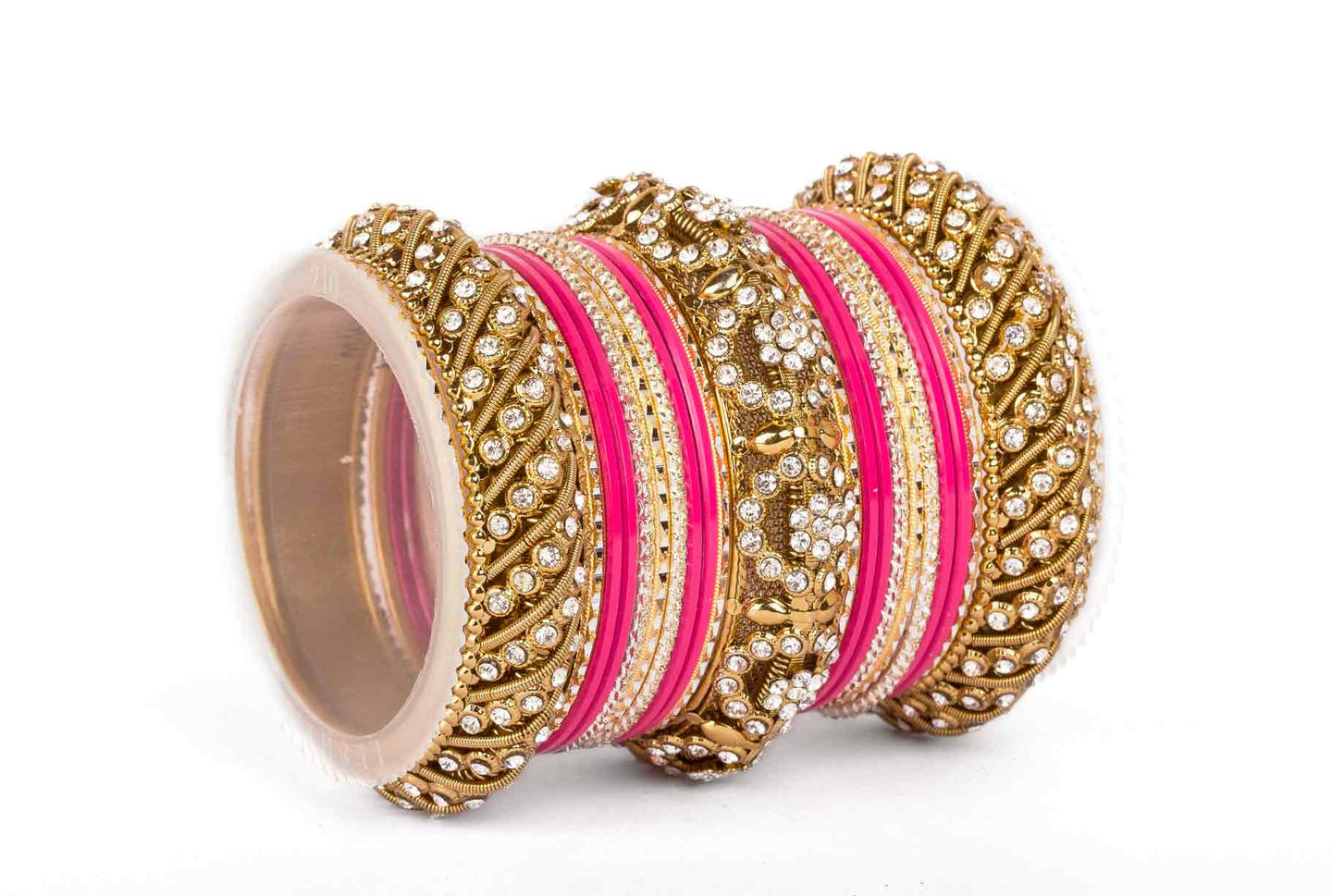 SOLID COLORED FUSCHIA BANGLE SET FOR ONE HAND – Bangles By Leshya