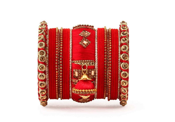 Bridal Silk Thread Bangle set with Jhumki and velvet bangles for two hands Red