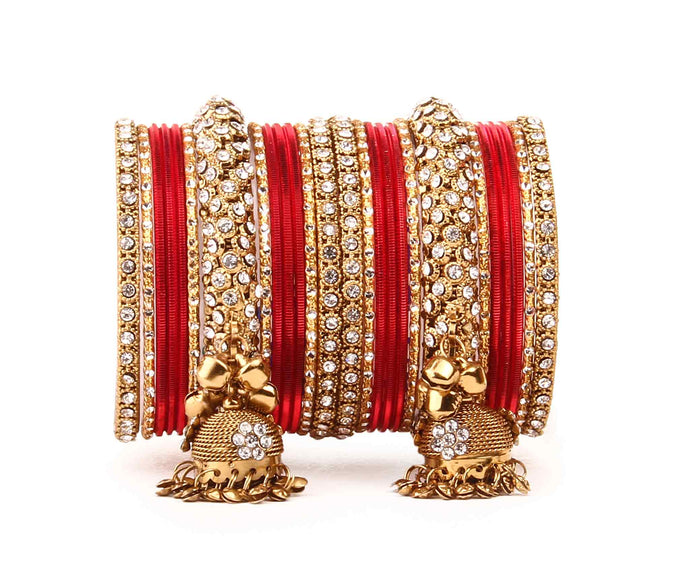 Traditional shining bangle Jhumki Bangle set for Two Hands by Leshya Red