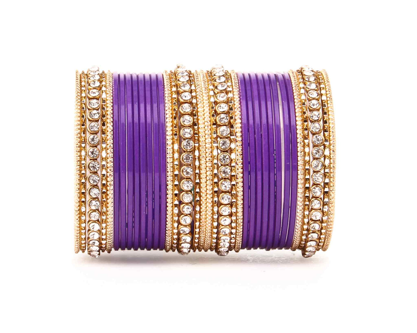 Simple Matte textured stone Bangle Set Design by Leshya for Women Purple