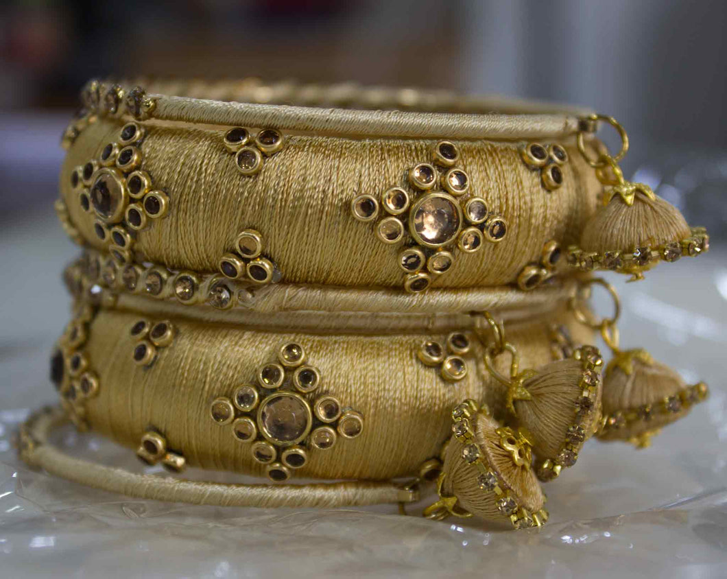 Traditional Thread Bracelet set with Stones and Jhumki Golden