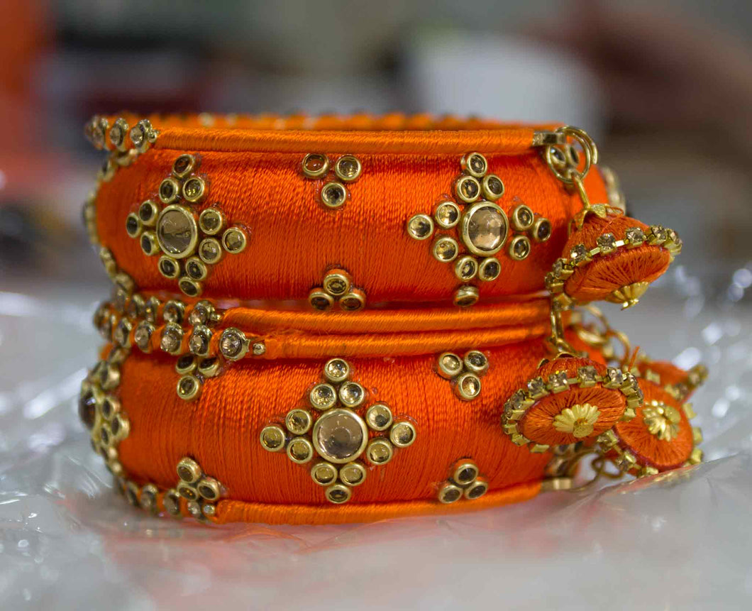 Traditional Thread Bracelet set with Stones and Jhumki Orange