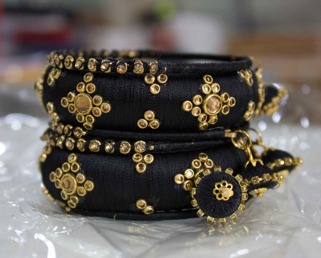 Traditional Thread Bracelet set with Stones and Jhumki Black