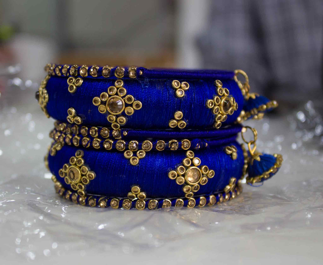 Traditional Thread Bracelet set with Stones and Jhumki Blue