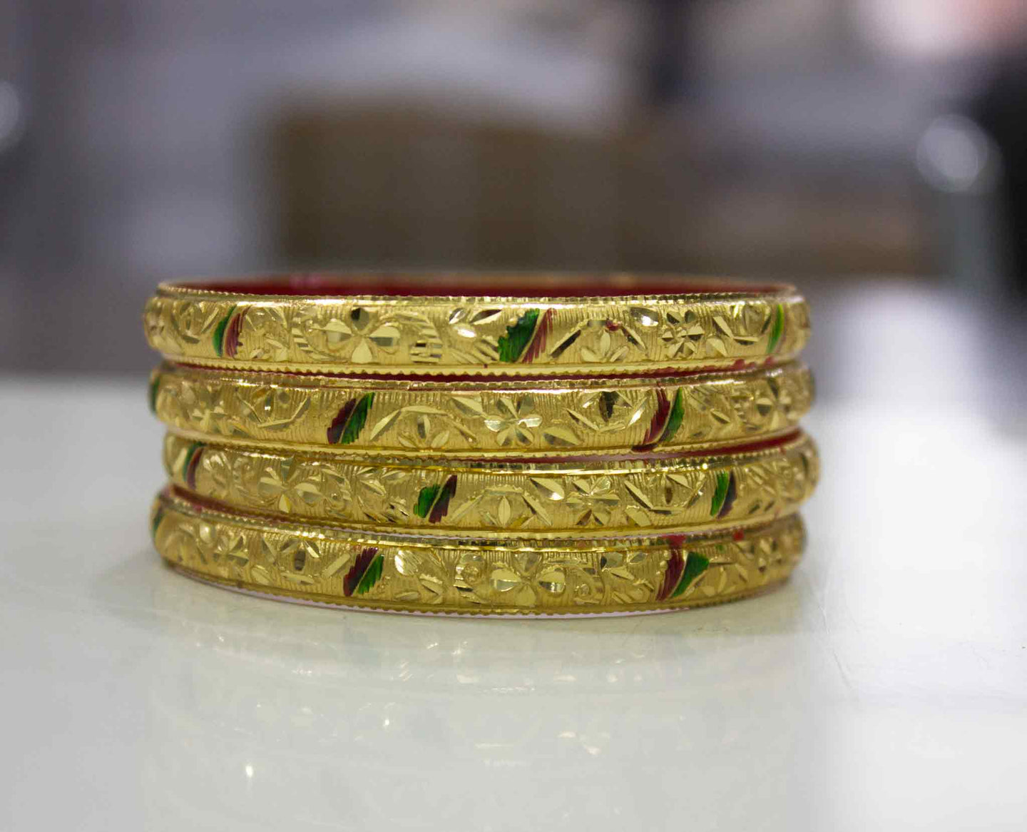Guarantee Gold  Dyed Bracelets with Floral Design in Multicolor