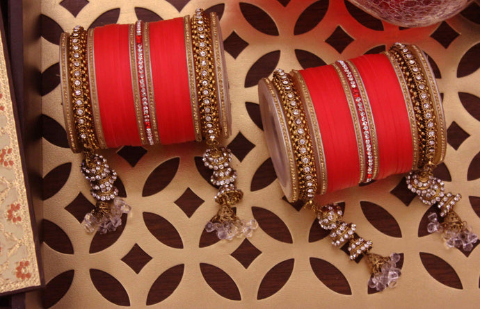 Beautiful Marriage Chura with Jhumki and Latkan by Leshya Red