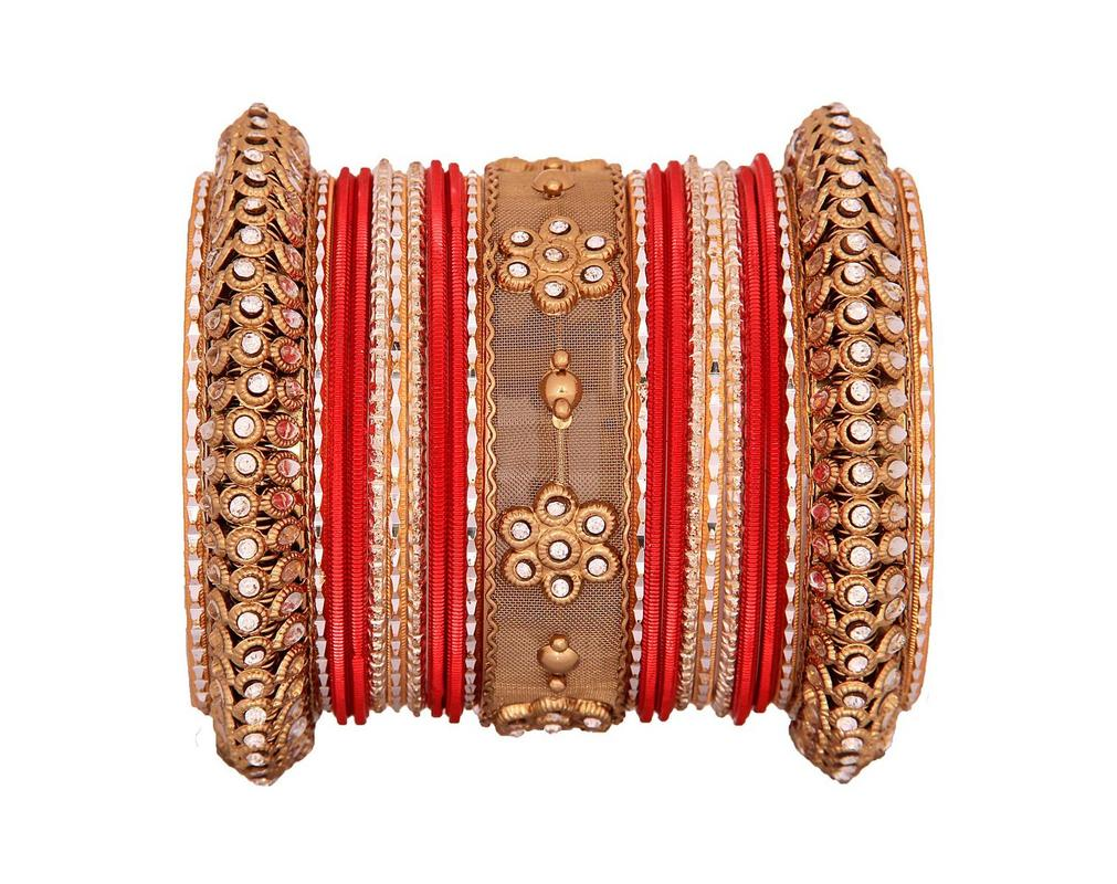 One Hand Red-Golden velevet textured bangle set by Leshya