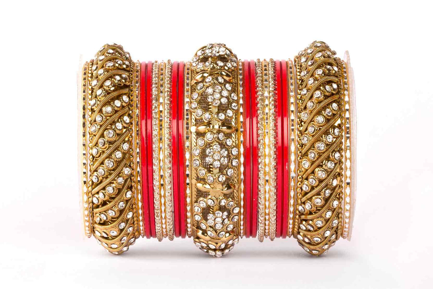 SOLID COLORED RED BANGLE SET FOR ONE HAND – Bangles By Leshya