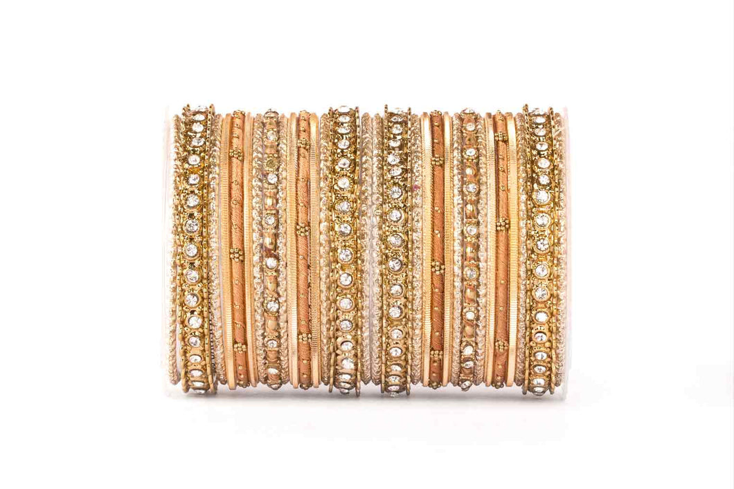 ELEGANT ALL GOLDEN COLORED THREAD BANGLE SET