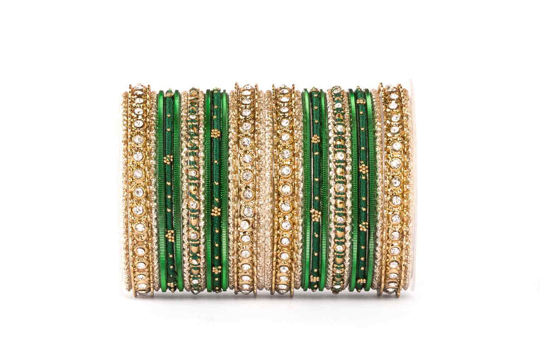 ELEGANT GREEN COLORED THREAD BANGLE SET
