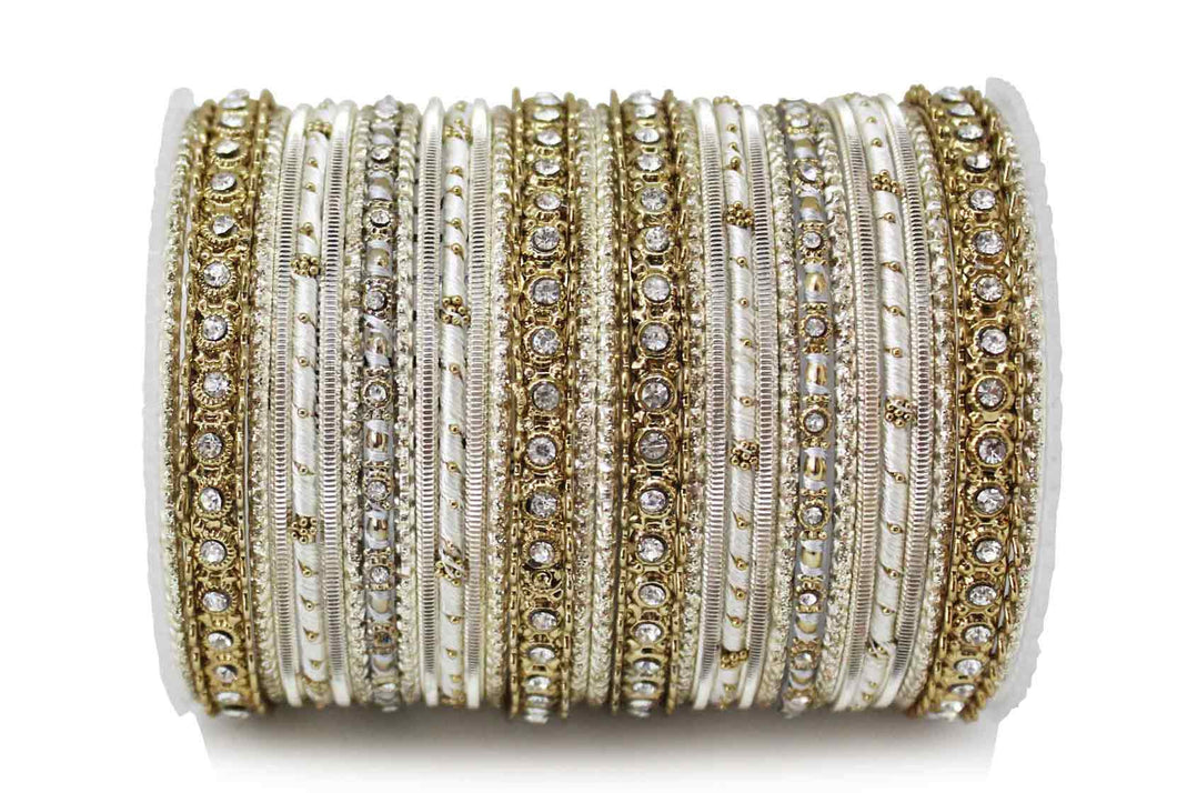 ELEGANT ALL BEIGE COLORED THREAD BANGLE SET