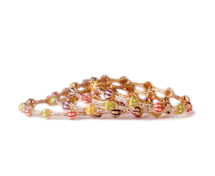 Beautiful Multicolored Meenakari bracelets by Leshya (4pcs)