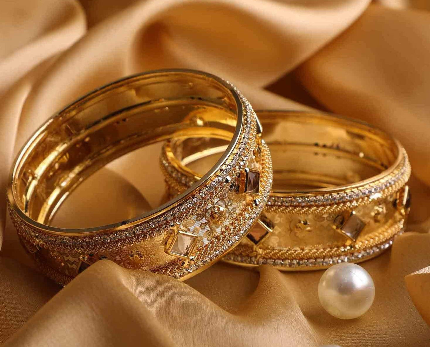 Beautiful Golden Bracelet Pair With Intricate Stonework – Bangles ...