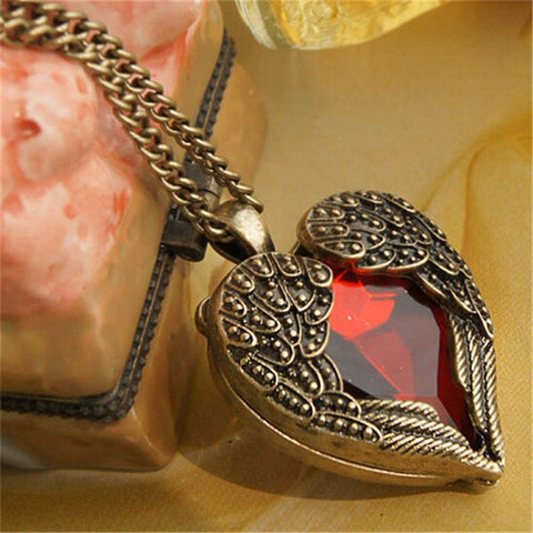 Red Wing Heart Pendant Necklace
