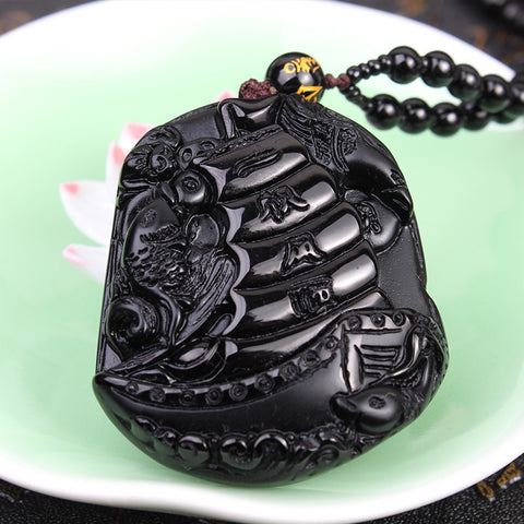 "Black Obsidian ""Smooth Sailing"" Pendant Necklace"
