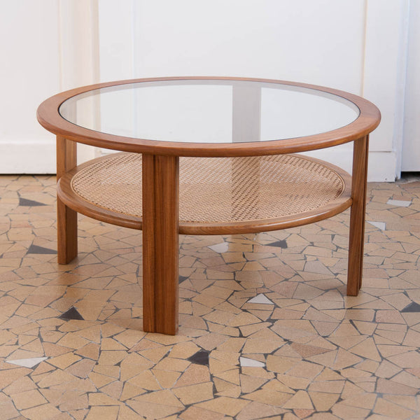 Table basse ronde cannage et teck