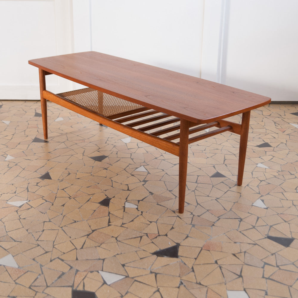 Table basse teck & cannage