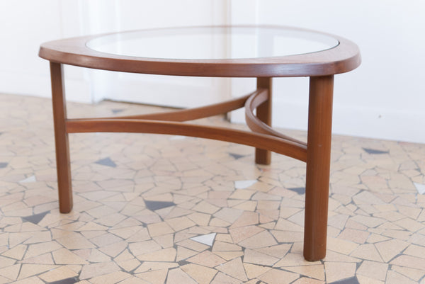 Table basse elliptique en teck